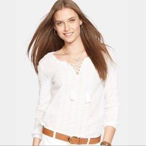 Ralph Lauren White Embroidered Peasant Top Blouse